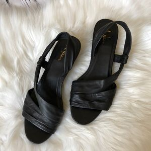 Cole Haan Nike Air black wedge sandals size 9B